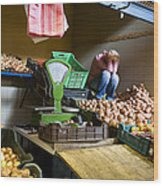 Fruit Stand Woman Wood Print
