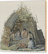 Fuegans In Their Hut, 18th Century Wood Print
