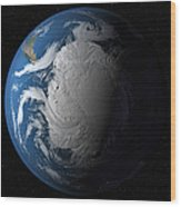 Ful Earth Showing Simulated Clouds Wood Print by Stocktrek Images