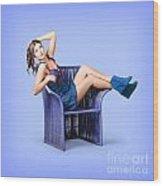 Full-length Portrait. Lovely Woman In Denim Dress Wood Print
