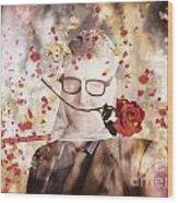 Funny Valentine Nerd Caught In Net Of Romance  Wood Print