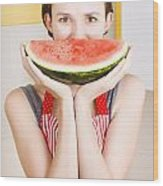 Funny Woman With Juicy Fruit Smile Wood Print