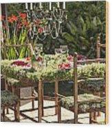 Garden Table Setting Wood Print
