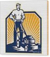 Gardener Mowing Lawn Mower Retro Wood Print