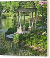 Gazebo By Lake Wood Print