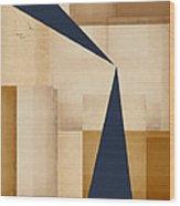 Geometry Indigo Number 5 Wood Print by Carol Leigh