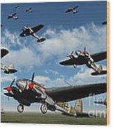 German Heinkel Bombers Taking Wood Print