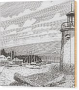 Lighthouse Gig Harbor Entrance Wood Print