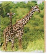 Mom Giraffe And Little Joey Wood Print