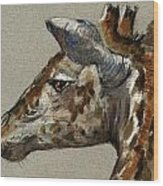 Giraffe Head Study Wood Print by Juan  Bosco