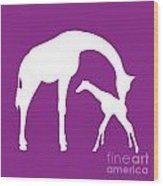 Giraffe In Purple And White Wood Print
