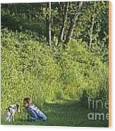 Girl And Dog On Trail Wood Print