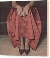 Girl On Black Sofa Wood Print