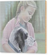 Girl With Her Dog Wood Print