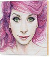 Girl With Magenta Hair Wood Print by Olga Shvartsur