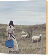 Girl With Sheeps Wood Print