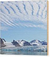 Glaciers Tumble Into The Sea In The Wood Print