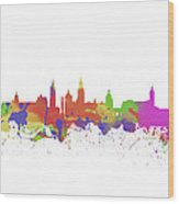 Glasgow Watercolor  Skyline  Wood Print