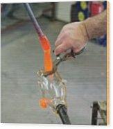 Glassblower Cuts Molten Glass Into Shape Wood Print