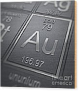 Gold Chemical Element Wood Print
