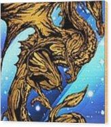 Gold Metal Dragon Wood Print