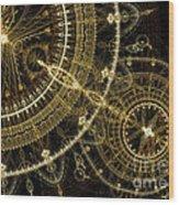Golden Abstract Circle Fractal Wood Print