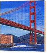 Golden Gate Bridge Panoramic View Wood Print