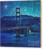 Golden Gate Bridge Night Wood Print
