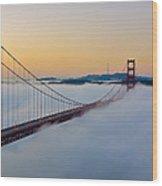 Golden Gate Dawn Wood Print
