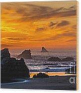 Golden Harris Beach Sunset - Oregon Wood Print