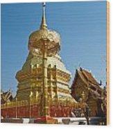 Golden Pagoda And Umbrella Wat Phrathat Doi Suthep Temple Wood Print