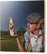 Golf Ball Flames Wood Print