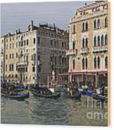 Gondolas In The Grand Canal Wood Print