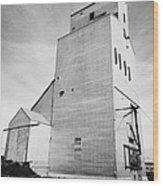 grain elevator and old train track landmark leader Saskatchewan Canada Wood Print