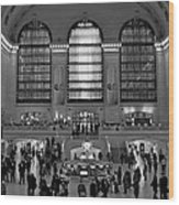 Grand Central Station Bw Wood Print