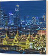 Grand Palace At Twilight In Bangkok Between Loykratong Festival Wood Print