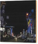 Granville Street At Night Vancouver Wood Print