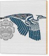 Great Blue Heron With Moon Wood Print
