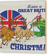 Great British Christmas Santa Reindeer Doube Decker Bus Wood Print by Aloysius Patrimonio