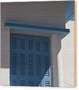 Greek Blue Window Shutters Wood Print