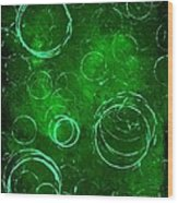 Green Bubbles Wood Print