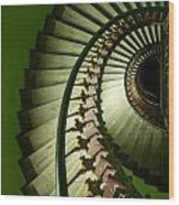 Green Spiral Staircase Wood Print