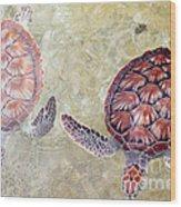 Green Turtles Wood Print