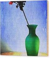 Green Vase Wood Print by Donald Davis
