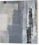Blocked - Grey And Beige Abstract Art Painting Wood Print