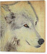 Grey Wolf Art Wood Print