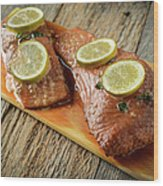 Grilled Salmon Cooked On A Cedar Plank Wood Print
