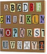 Grunge Alphabet Wood Print