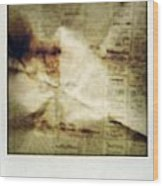 Grunge Newspaper Wood Print