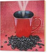 Grungy Red Cup Of Coffee Wood Print